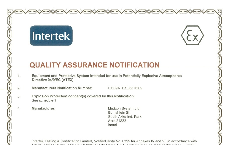 atex assurance certification directive received systems modcon ec london process